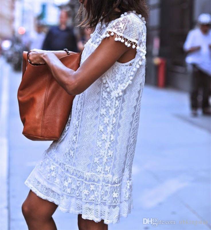 Été sexy femmes ronde cou lâche dentelle sans manches plage une robe de gilet gland solide mini robe courte