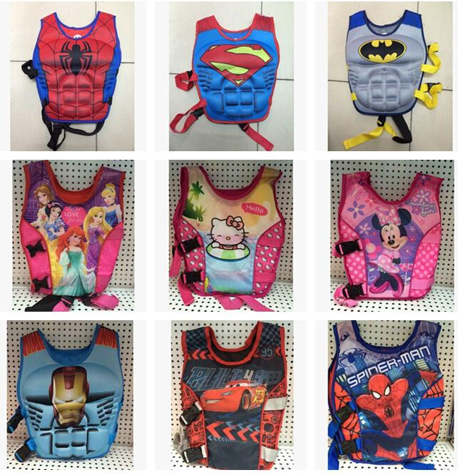 Baby Life Jackets Vests Batman Superman Spiderman Princess KT Micky  Drifting Vest Children Swimming Life Vest Kid Rafting Life Jacket D407 Children  Life ...