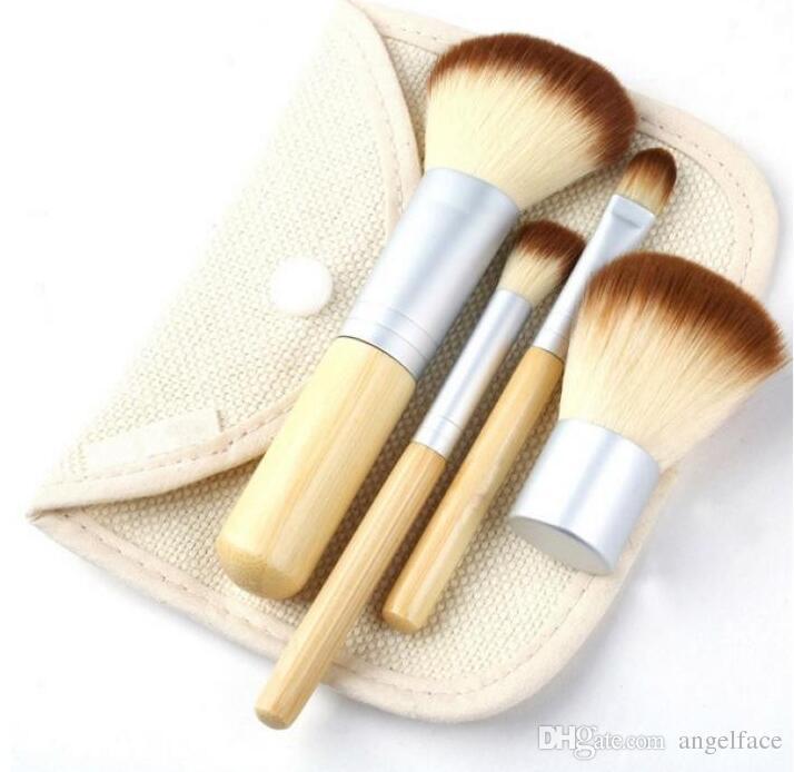 핫 세일 패션 4 개 BAMBOO 포터블 메이크업 브러쉬 메이크업 브러시 화장품 키트 키트 무료 배송
