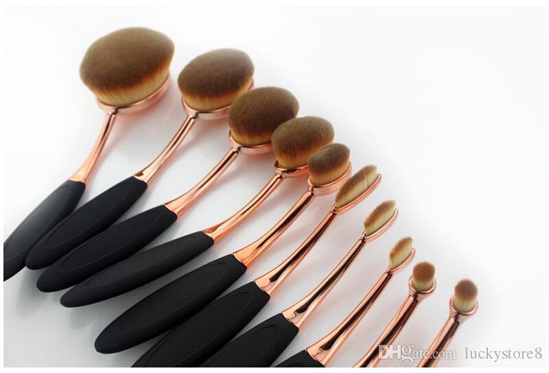 10 adet / takım Güzellik Diş Fırçası fırça gül altın Şekilli Vakıf Güç Makyaj Oval Krem Puf Fırçalar setleri Oval Fırçalar