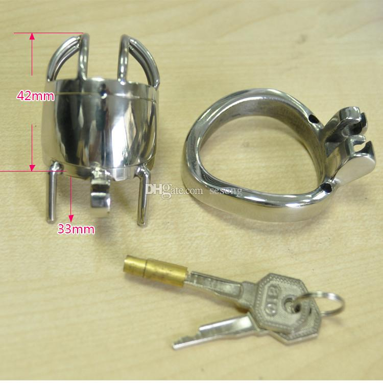 Male Chastity Device Metal Men's Penis Cock Cages Anti-off Ring Erotic Adult Sex Toys Products for Men