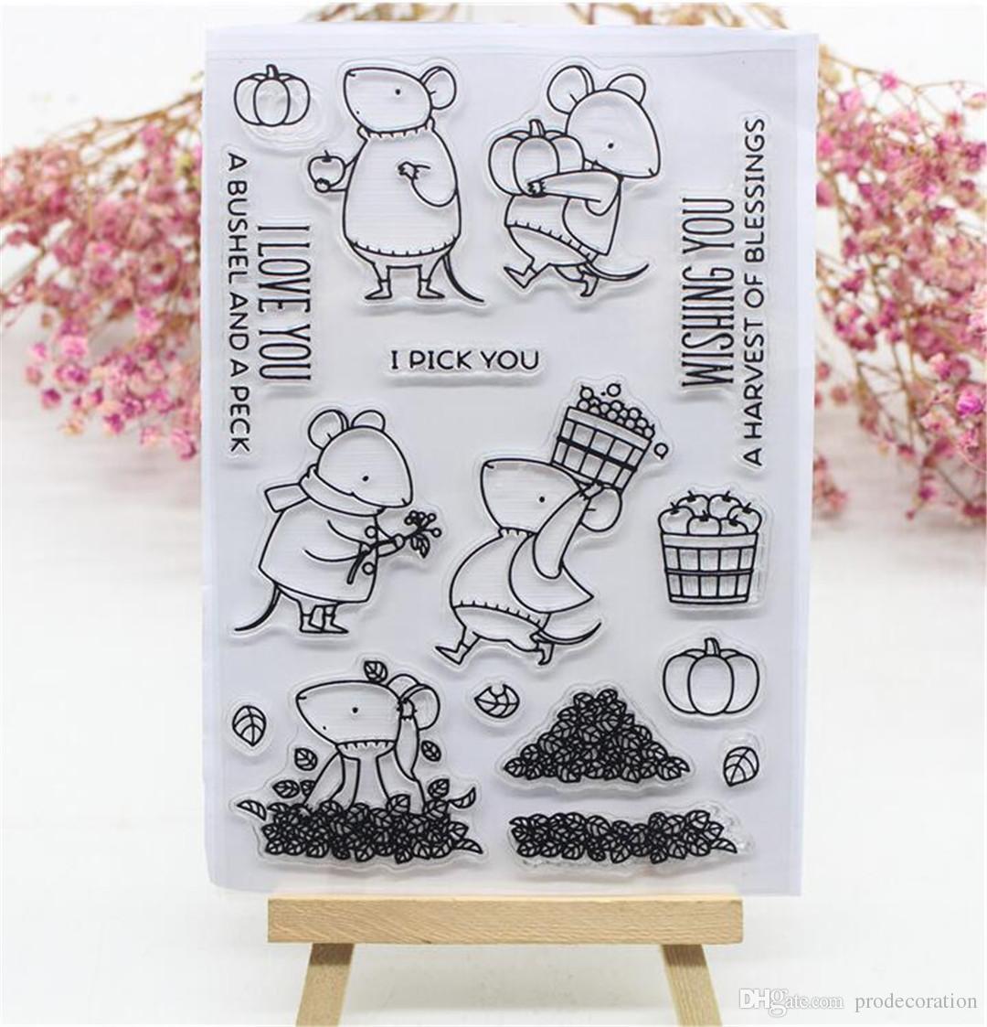 Creativo Lovely Mouse Bear Mouse Topolino trasparente in silicone trasparente / sigillo album di scrapbooking / foto fai da te Fogli decorativi timbri