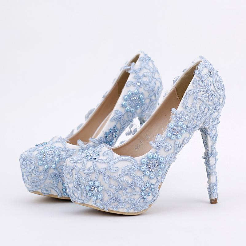Blue Lace Prom Shoes Handmade Rhinestone Bridal Dress Shoes Platform Formal  Shoes 5.5 Inches Comfortable Wedding Party Pumps Wedding Shoes Size 2  Wedding ... 61f9bb67213c