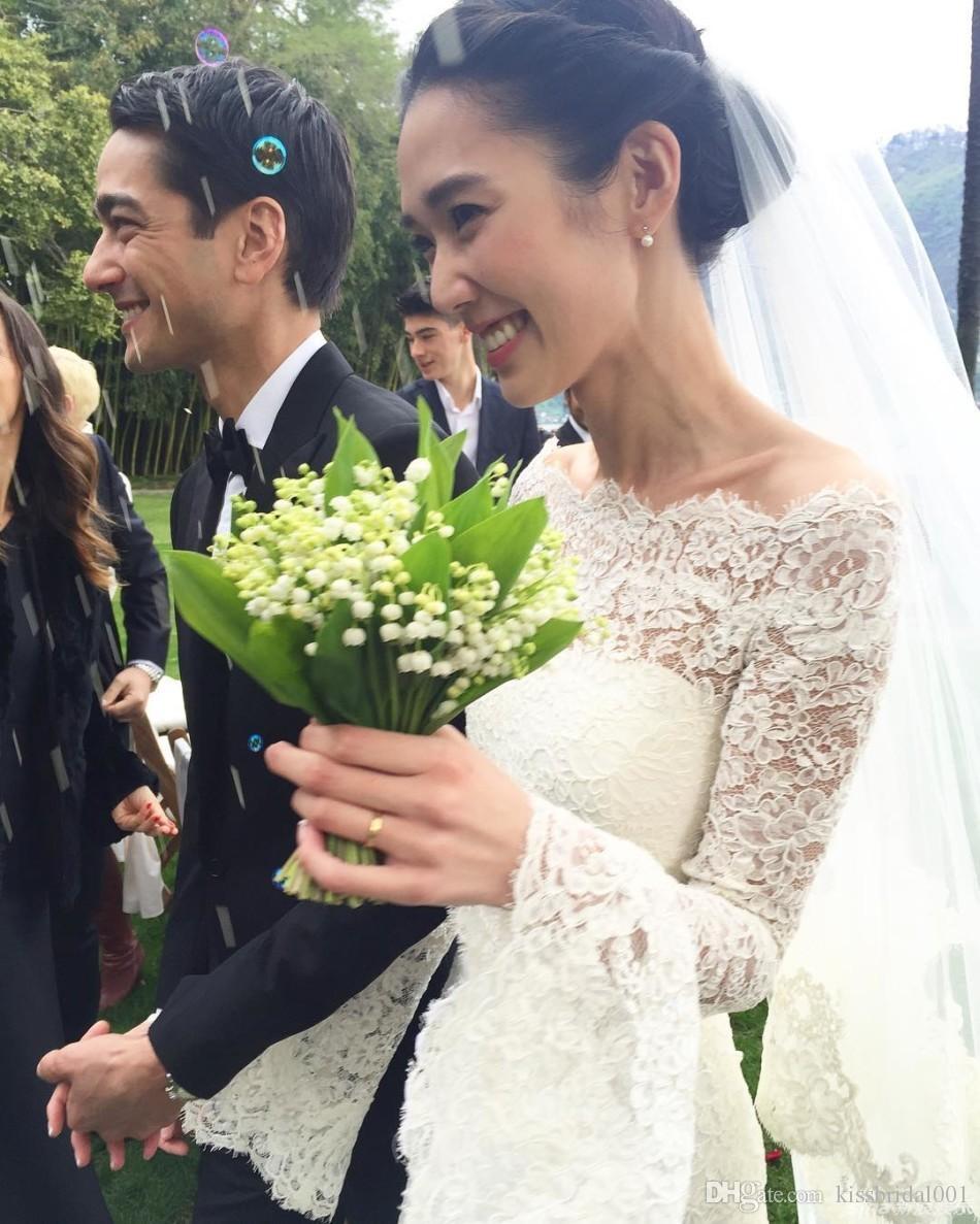 Vintage pleine dentelle robe de mariée manches trompettes élégantes robes de mariée d'été élégant avec le cou couvert de col