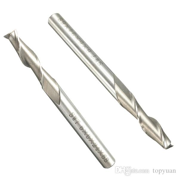 5 adet 6mm 2 Flüt End Mill Kesici Spiral Matkap Ucu CNC Aracı 6x6x24x68mm