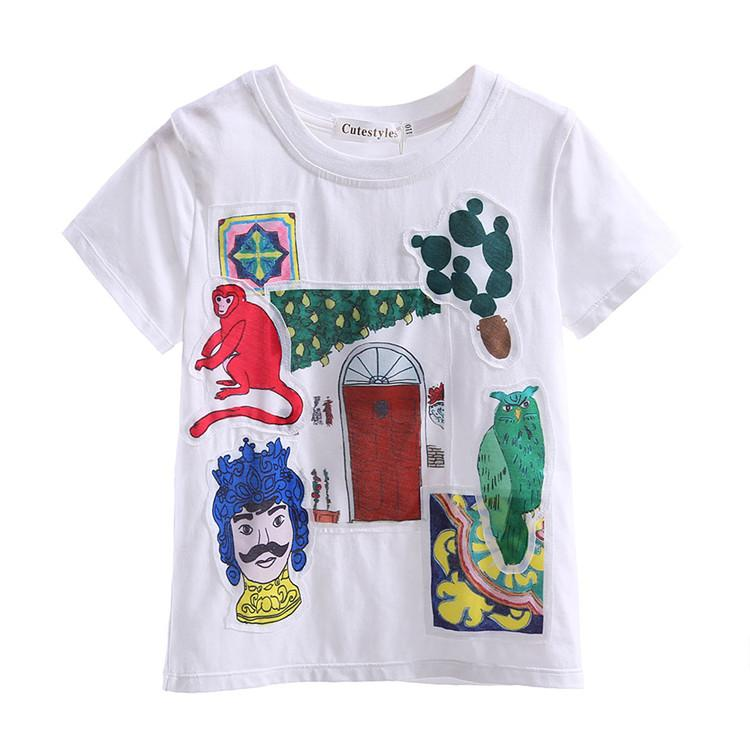 Cutestyles 2016 Beyaz Karikatür Boys T-Shirt Yüksek Kalite Çocuklar Komik Cartton Desen Tops Kısa Kollu Bebek Erkek T-Shirt BT90312-3L