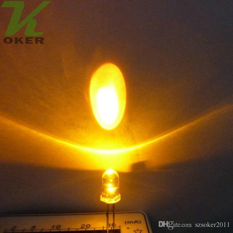 5mm giallo rotondo acqua pulita LED Light Light Light Lampada Emissione diodo Ultra Bright Branzy Plug-in Kit fai da te Pratica Pratica grandangolare