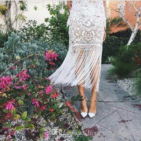 b6d2ec4df8 2016 design runway fashion women's lace crochet embroidery floral hollow  out sexy tassel fringe pencil ankle-length long skirt