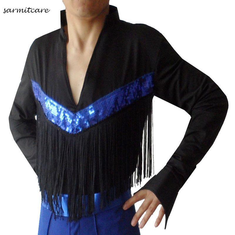 D101 black color male tassel sequin latin dance shirt for Mens shirt with tassels