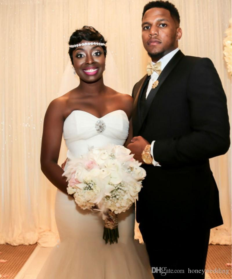 Vestidos de novia de sirena simple Barato 2016 pliegues de novia de tul trompeta africana vestidos de novia más tamaño vestidos de novia con encaje hasta la espalda