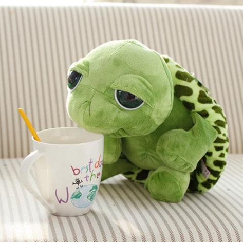 Atacado 20 cm Super Green Big Eyes Recheado Tartaruga Tartaruga Animal De Pelúcia Brinquedo Do Bebê Presente