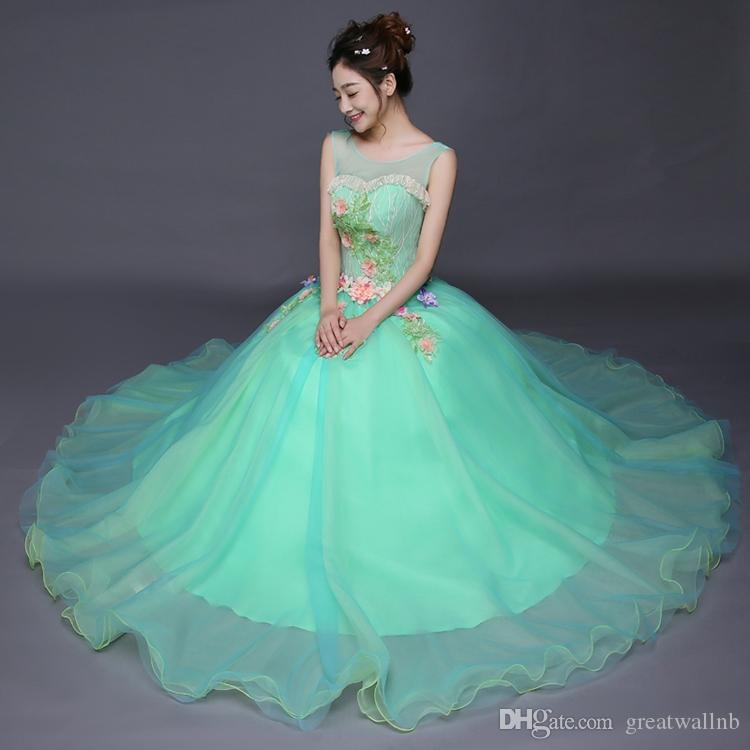 52ca0042e9 Luxury Light Pink/Green Heart Lace Flower Ball Gown Sissi Princess Medieval  Dress Renaissance Gown Princess Victorian Belle Ball Gown Funny Halloween  ...