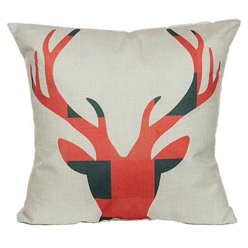 Vintage Christmas Santa Claus Linen Cotton Blend Pillowcase Reindeer Sofa Pillow Covers Home Car Bed Office Chair Xmas Pillowcase