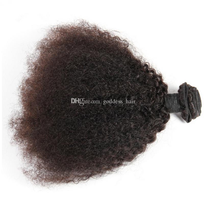 Brasileño 9A Afro Kinky pelo rizado con cierre de encaje rizado rizado teje con cierre 3 paquetes con cierre para mujer negro