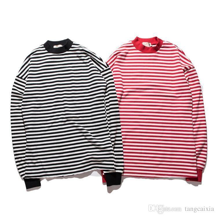 Erkekler Tasarımcı Streetwear T-shirt Hip Hop Çizgili Boy Uzun Kollu baskılı yuvarlak yaka üst giysi ücretsiz kargo toptan