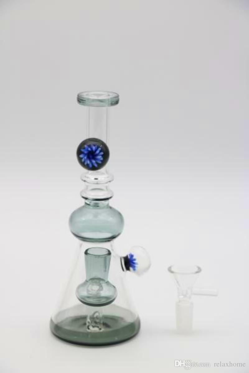 Sy318 Big Flower Eyes Designer Joint 14.4 mm Bowl Tall 20cm glass bongs Smoking Water Pipes in stock Hookahs