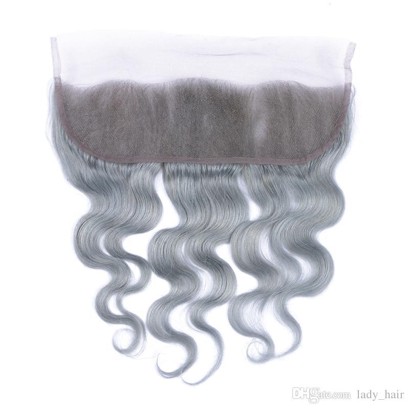 Jungfrau peruanischen Silbergrau Ohr zu Ohr volle Spitze Frontals 13 x 4 Körperwelle gewellte Spitze Frontal Schließung reine graue Farbe gebleichte Knoten