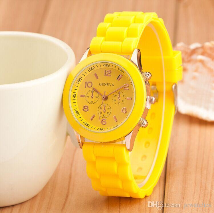 Sommer-Art-buntes Sport-Silikon-Gelee passt DHL-freie Verschiffen-Süßigkeits-Farbe-Genf-Uhr-Unisexheiße Verkaufs-analoge Armbanduhren auf