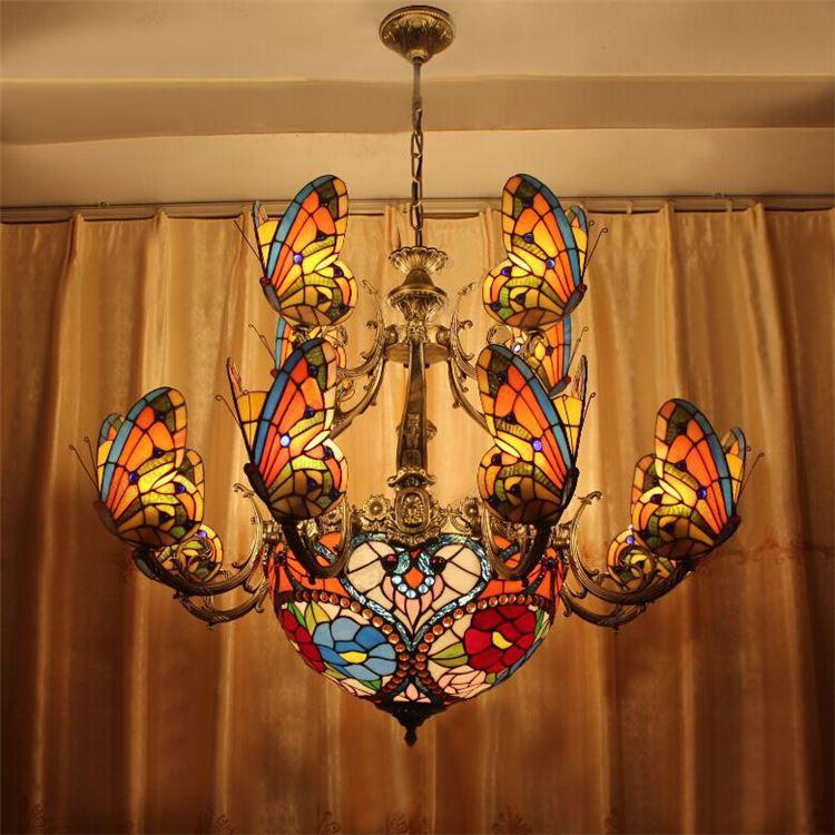 Creative stained glass led pendant light american tiffany chandelier creative stained glass led pendant light american tiffany chandelier lamp living room pendant light bilayer butterfly pendant light bulbs red pendant aloadofball Images