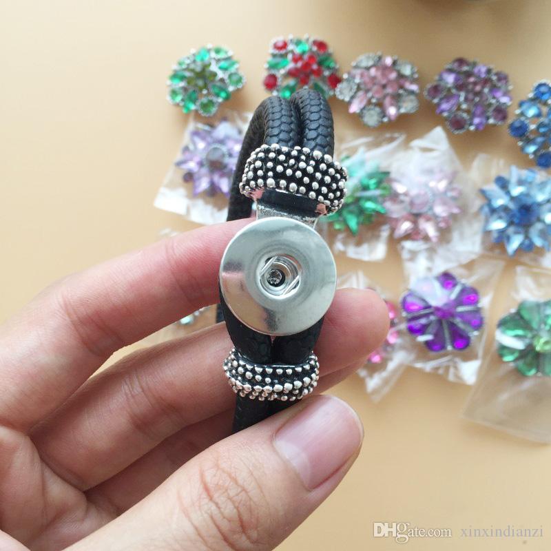 Foto real 20 unids / lote 20 mm Charms Set Crystal Noosa botones a presión 5 unids PU pulseras de cuero DIY pulsera tamaño ajustable libre DHL F338L