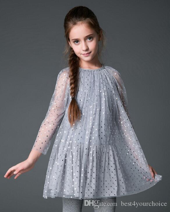 Moda europea ragazze rete paillettes principessa abiti prospettiva manica lunga pieghettato elegante mini abito bambini abbigliamento