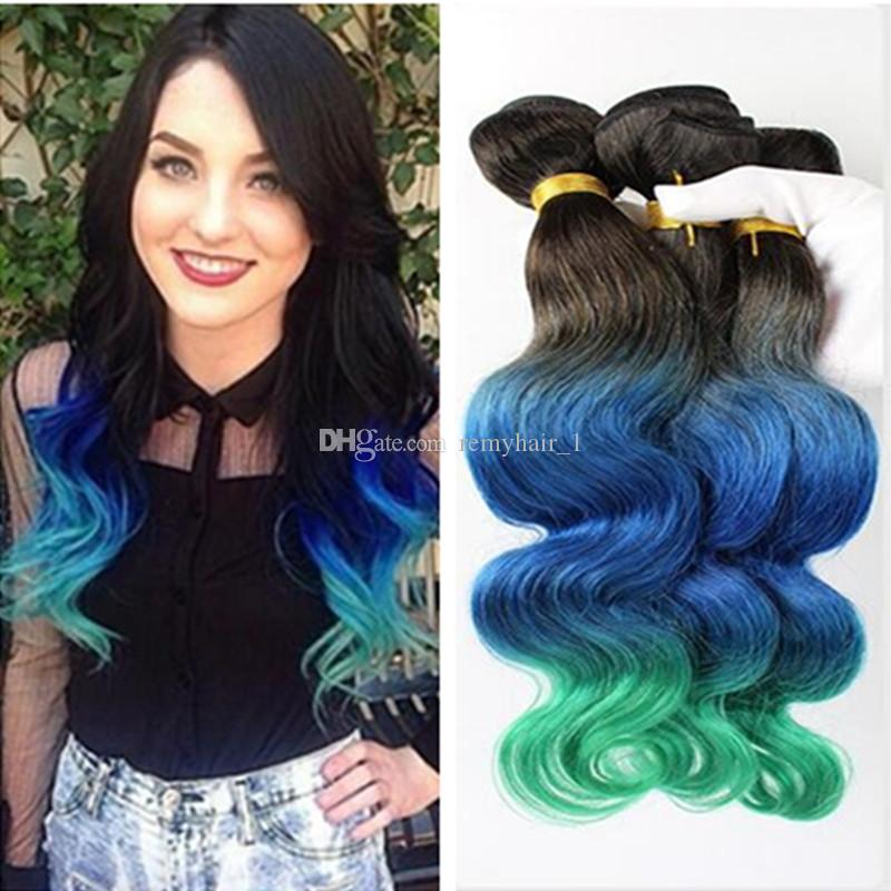 Newly Arrival 1b Blue Teal Ombre Three Tone Color 300gram Brazilian
