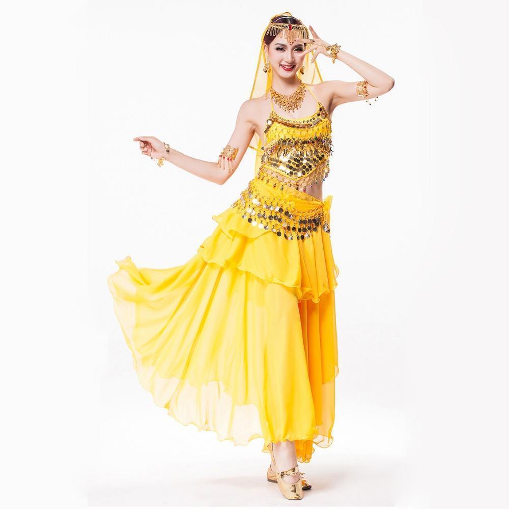 7f7fe9f41925 Women Bollywood Dance Wear 4-piece Costume Set Rhinestone Headpiece ...
