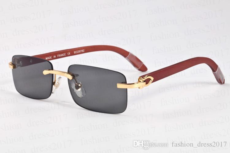 2017 lfashion marque designer lunettes de soleil en bois corne de buffle lunettes sans monture en métal lentille claire populaire lunettes de soleil polarisées pour unisexe