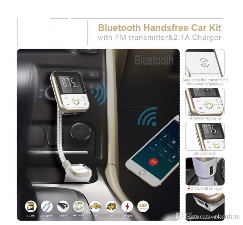 Trasmettitore FM auto Modulatore lettore MP3 Caricatore USB Kit vivavoce auto Bluetooth senza fili a distanza SD KF-A1057