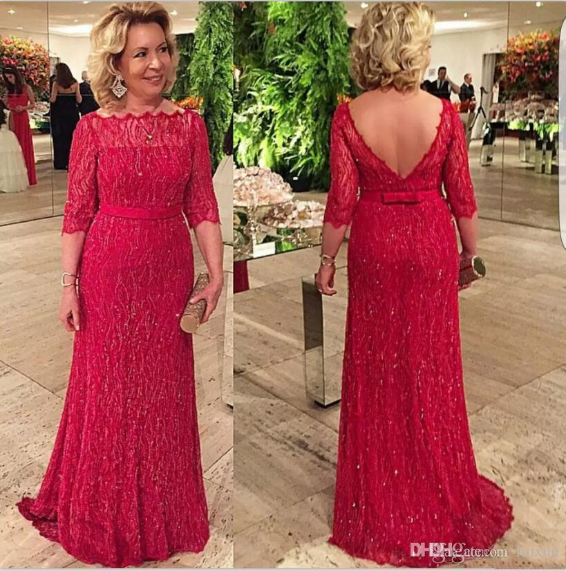 Sparkling Red Sheath Mother Of The Bride Dresses With 3/4