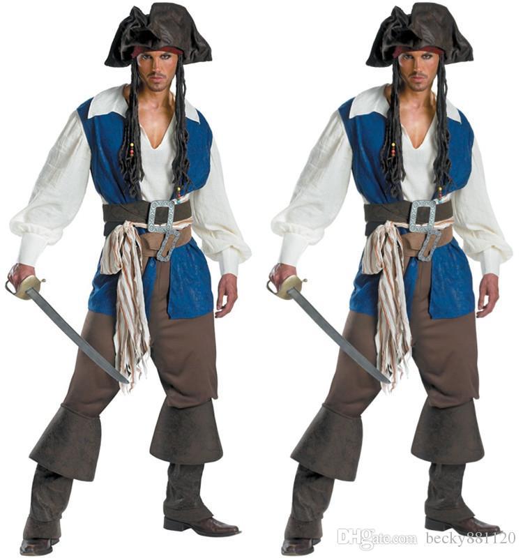 Großhandel Herren Piratenkostüm Cosplay Kapitänskleidung Halloween Herren Team Dress Up Uniform Halloween Tuch Für Männer Halloween Kostüm Set