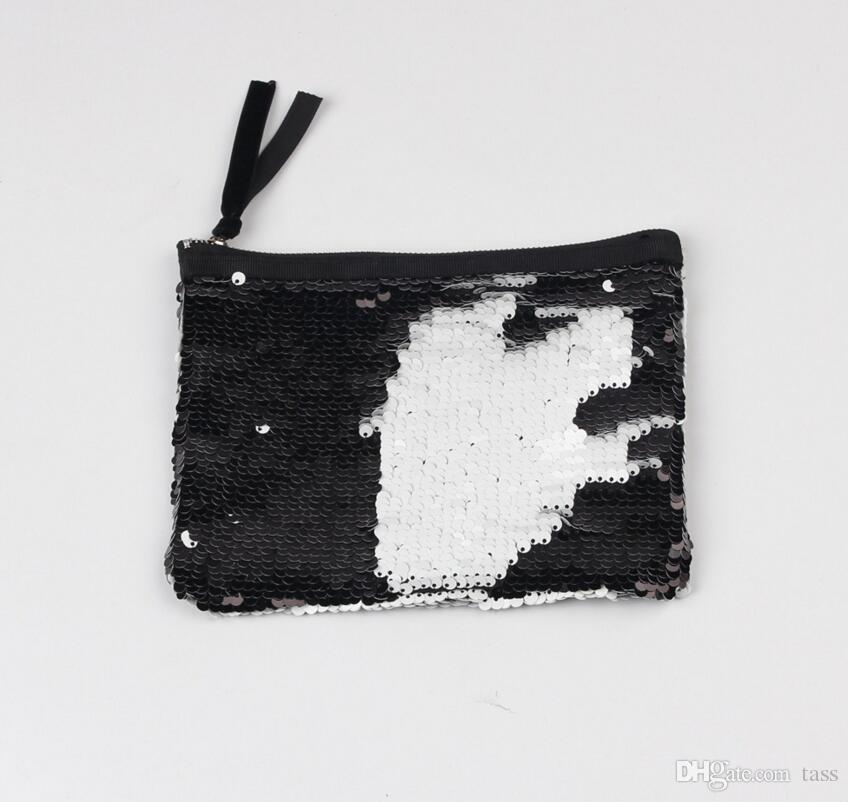 Women Reversible Sequins Mermaid Glitter Handbag Evening Clutch Bag Wallet Purse makeup Bags Storage Coin bag