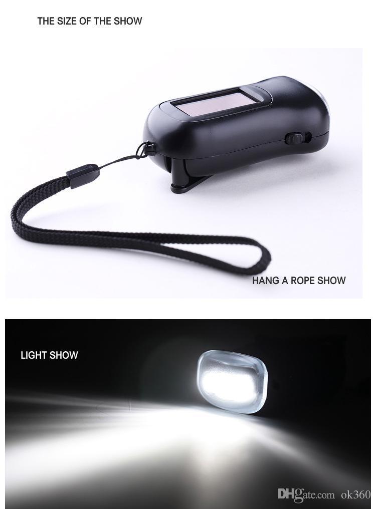 Newest Mini Solar Power 3LED Flashlight Hand Crank Dynamo Camping lights Holiday Lights Christmas Xmas gift