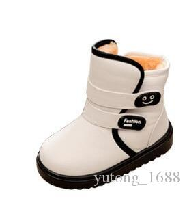 bb6a7e04469e7 Girls Boy Boots For Kid Snow Botas Winter Warm plush Baby Boot Waterproof  Soft Bottom Non-slip Leather Booties Kids Shoes