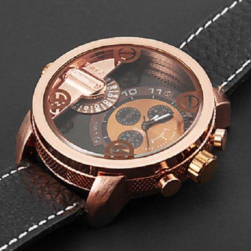Oulm Men's Military Watch Fashion Watch Orologio da polso Dual Time Zones Cinturino in pelle di quarzo nero freddo