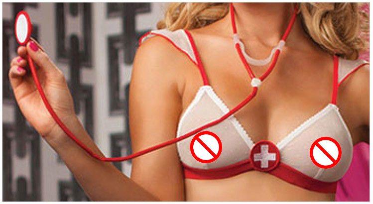 Ladies Sexy Lingerie hotSheer Naughty Nurse Uniform Sexy Underwear Red Cross Bra+t-pants Erotic Lingerie Hot 2016