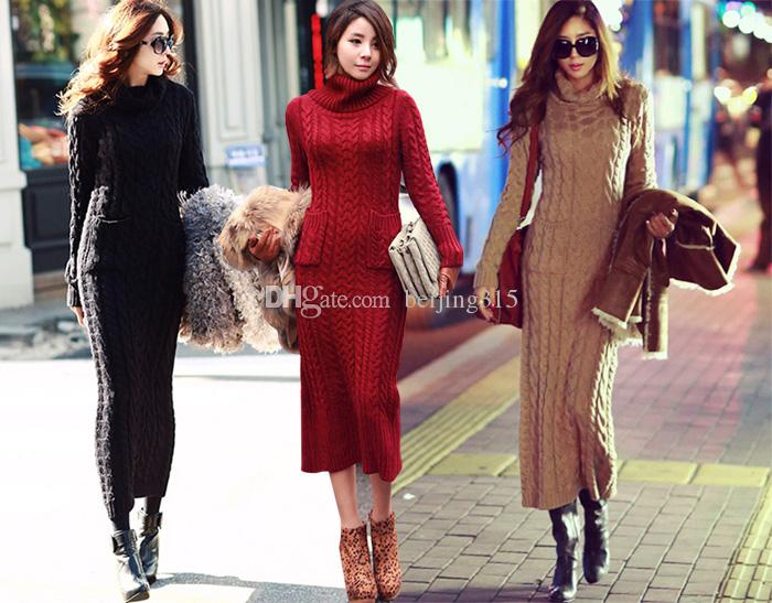 c8d9a31b7b1 2019 Plus Size Sweater Coat Women Turtleneck Pullover Sweater Dress Maxi  Long Split Knit Dress Winter Outerwear From Beijing315