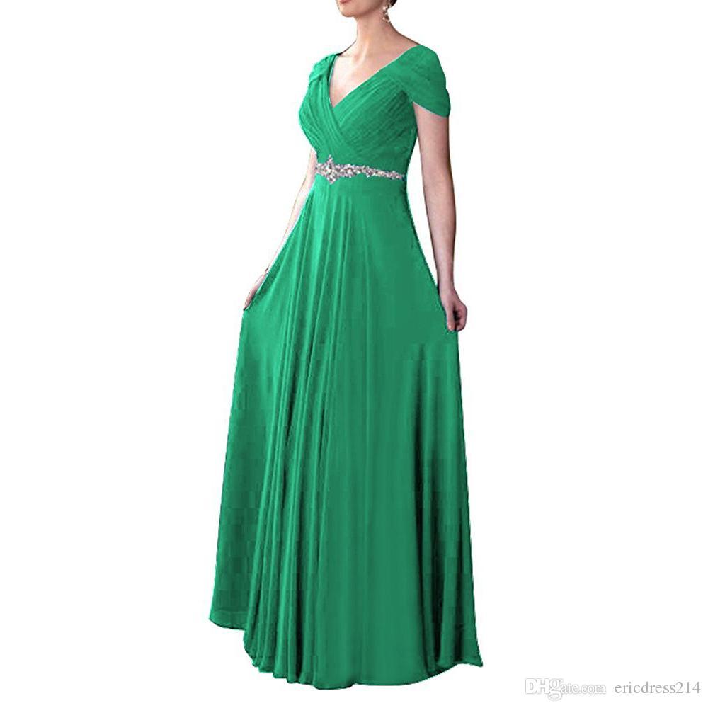 2017 Lungo scollo a V Cap Sleeve Prom Dresses Sexy Chiffon Royal Blue Lace-up Abito da sera Party Prom Dress Abiti formali Formato USA 2-20