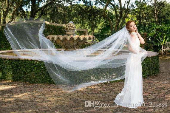 Hot Sell One Layer Wedding Veil Cathedral Length Cut Edge White Ivory Champagne Bridal Veil With Comb Tulle 137a