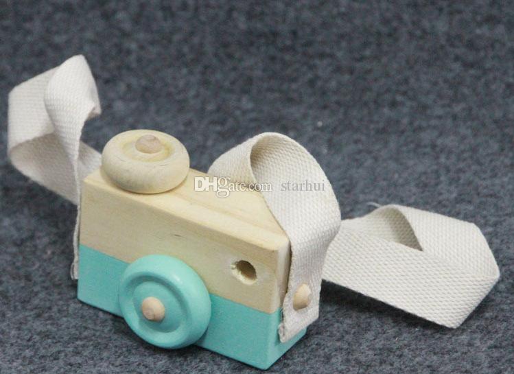 Mini Ahşap Kamera Oyuncaklar Fotoğraf Sahne Üzerinde Asılı Boyun Anti-Statik Doğal Ahşap Bebek Doğum Günü Hediye Odası Dekorasyon WX-T106