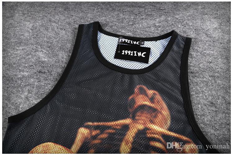 Atacado frete grátis Nova moda dos homens verão malha respirável esporte top tanque criativo crânio engraçado impressão 3d camiseta colete tops casuais