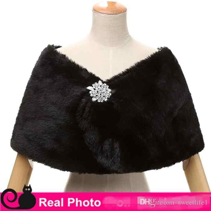 A buon mercato in stock wraps da sposa falso finto pelliccia di hollywood glamour wedding giacche in stile street style fashion cover up cappotto rubato cappotto shrug scialle bolero