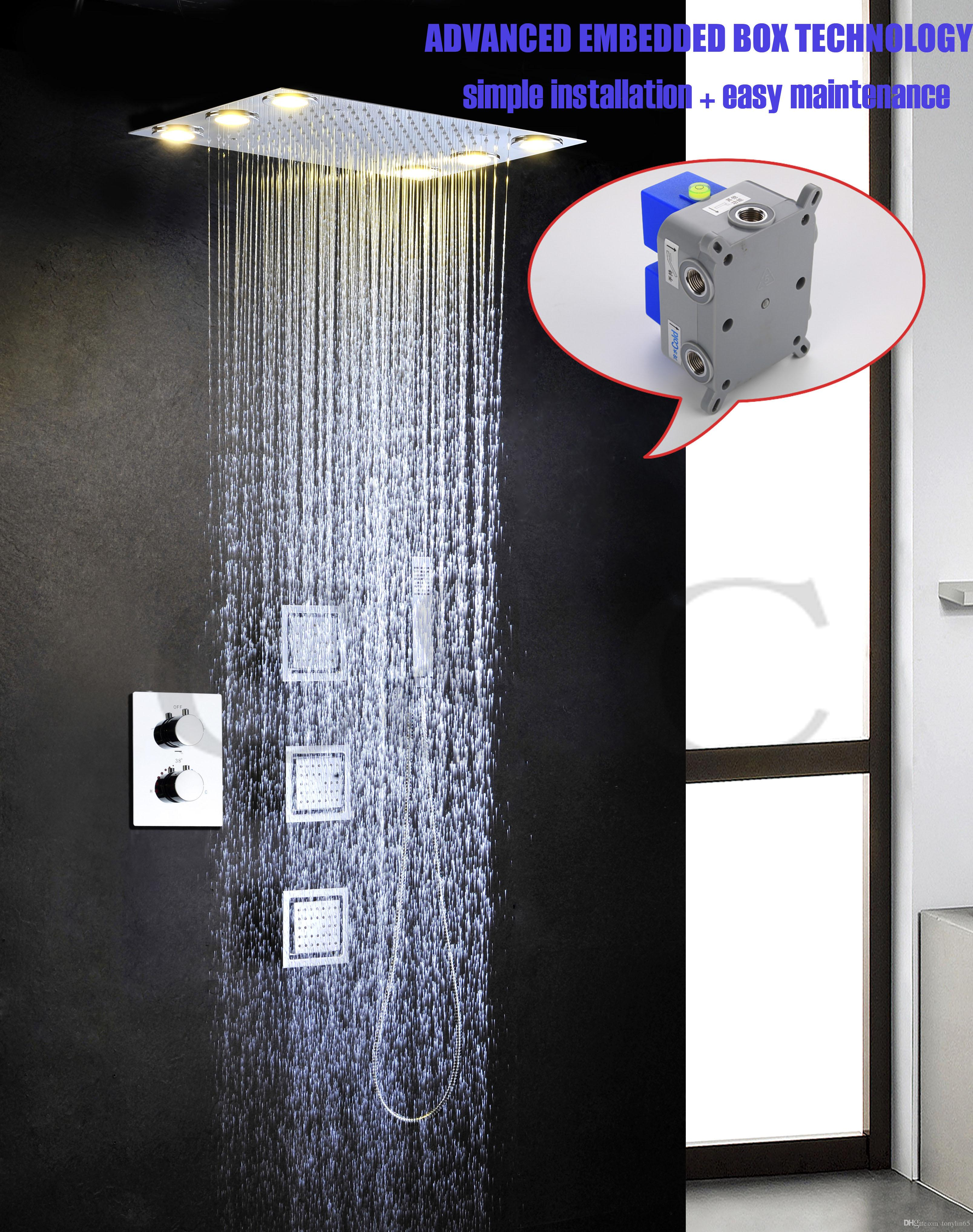 2018 Easy Installation Embedded Box Led Yellow Lamps Rainfall Shower ...