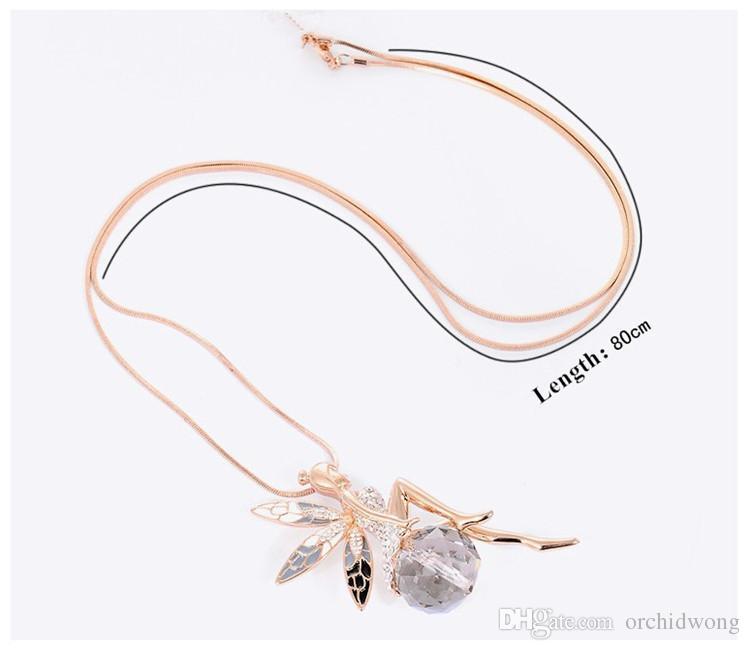 رائعة أجنحة الملاك أجنحة الفراشة الجنية كريستال حجر الراين قلادة قلادة سلسلة البلوز متوافق مع مجوهرات باندورا