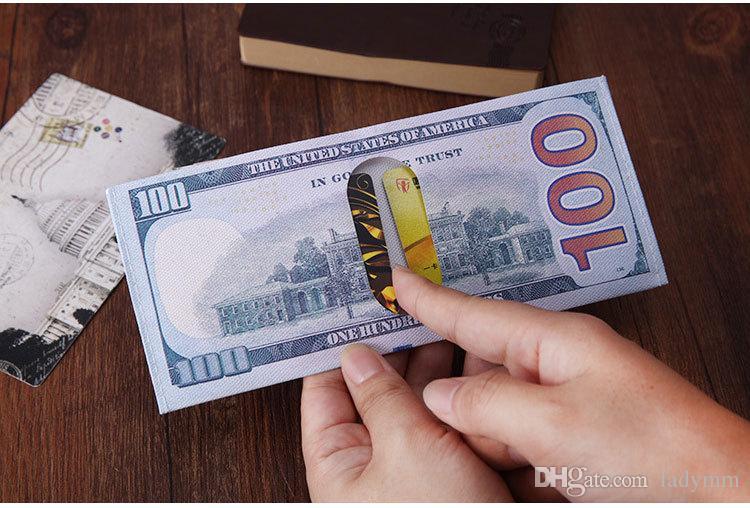 100 Unids / lote Varios Países Impresos Dinero Creativo Libras de Euro Monedero Monedero de La Manera Monedero Titular de la Tarjeta de Los Niños Regalo de Niños Regalos