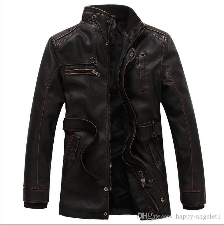 High Quality Washed Pu Leather Jacket Men Winter Thick Windbreaker Warm Male Leather Jacket Stand Collar Slim Fit Outwear Coat