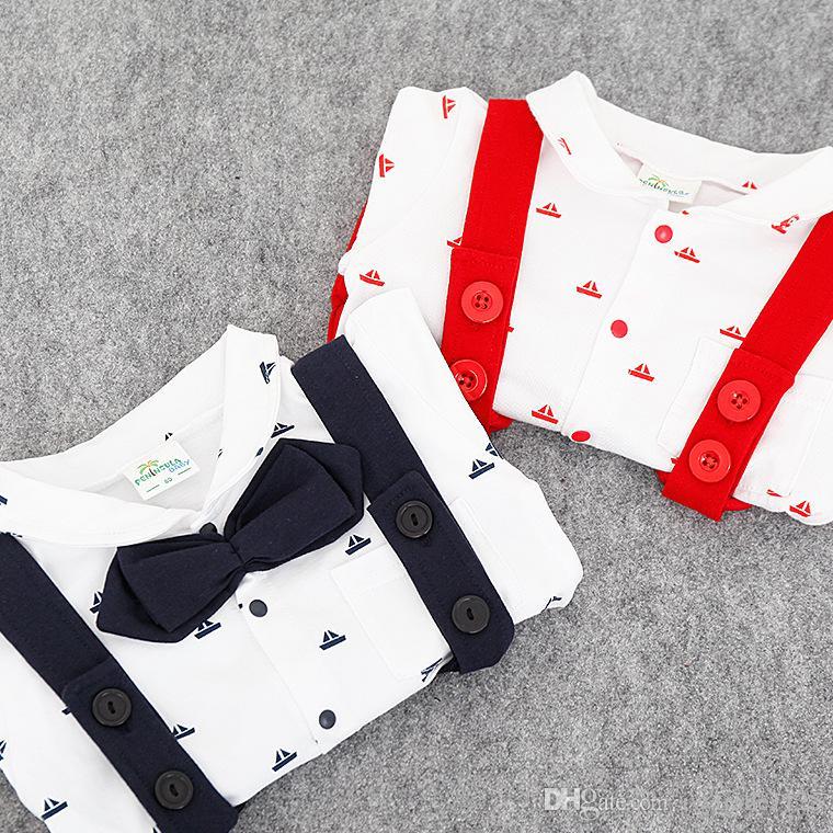 RMY30 NEW 2 Design infant Kids Gentelmen style Cotton Cool short sleeve Straps Romper baby Climb clothing boy girl Romper +hat free ship