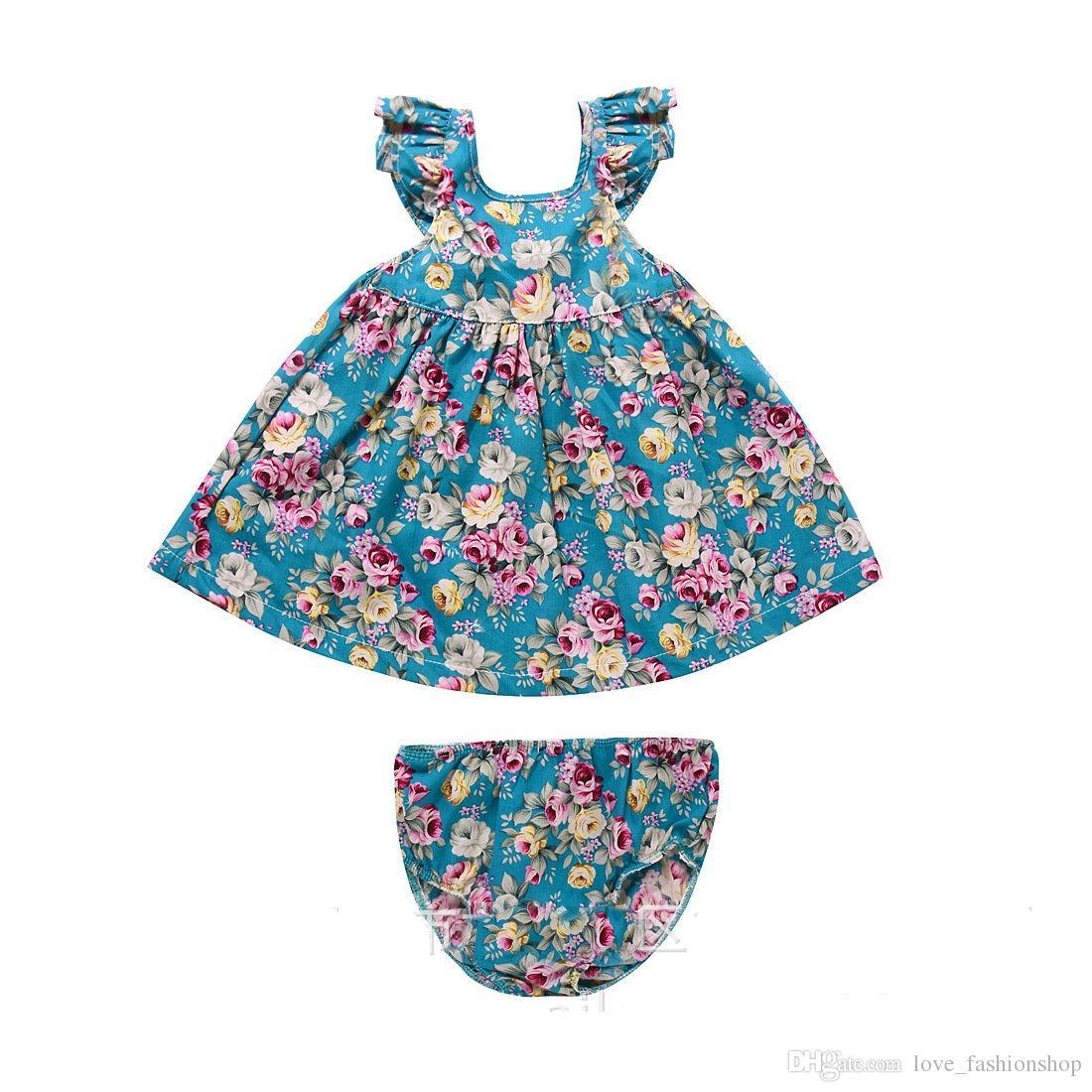 Retail Baby Girls Floral Klänningar Två Pieces Set Cotton Dress + Underkläder Flickor Beach Dress Kids Kläder Barnkläder