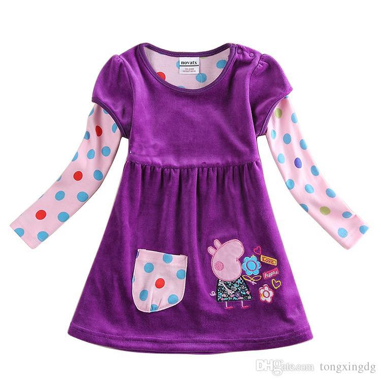 2018 Kids Winter Clothes Baby Girls Purple Dress Polka Dot