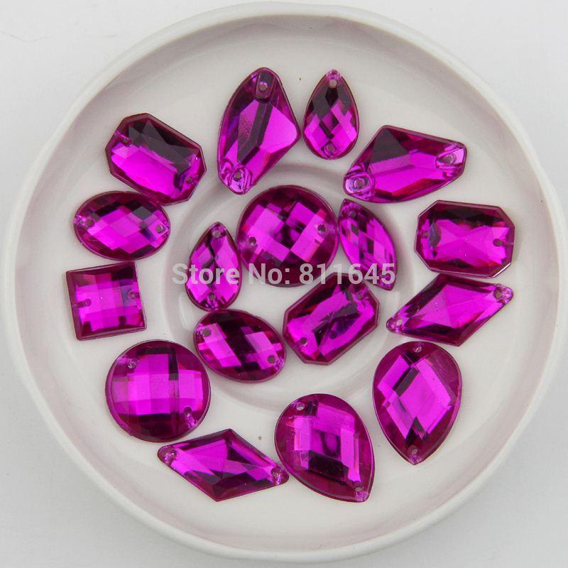 Rose Acrylic Flat Back Stones Mix Shape Acrylic Rhinestone Sew On 2 Holes  Gems DIY 836b6be04171